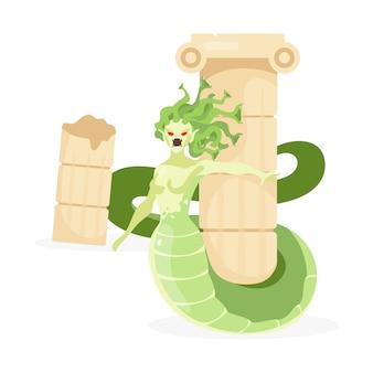 Медуза горгона плоской иллюстрации. мифологическое существо нападение наполовину женщины, наполовину змея. греческая мифология. фантастический зверь возле колонны, изолированный мультипликационный персонаж на белом фоне