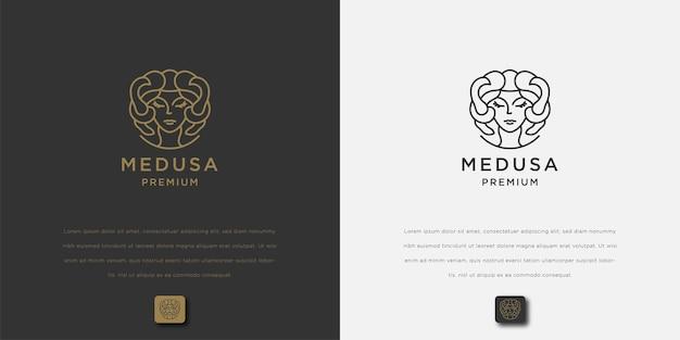 Medusa head line art vector drawing