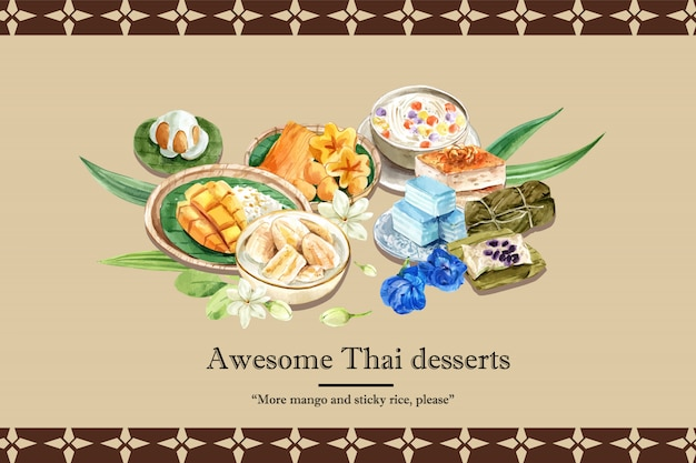 Тайский сладкий баннер шаблон с липким рисом, сладости с meean акварель иллюстрации.