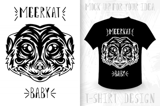Meerkat face.  t-shirt print in vintage monochrome style.