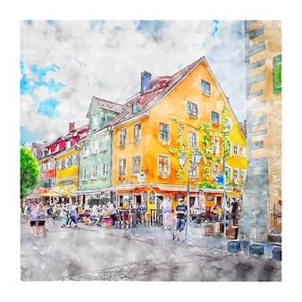 Meersburg 독일 수채화 스케치 손으로 그린 그림
