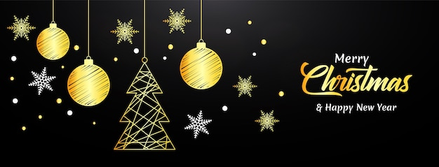 Meery christmas banner with golden ball and snowflakes