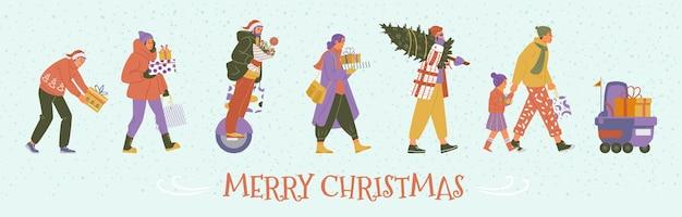 메리 크리스마스 수평 벡터 배너에는 겨울 옷을 입은 사람들이 선물 상자를 들고 걸어가고 있습니다.