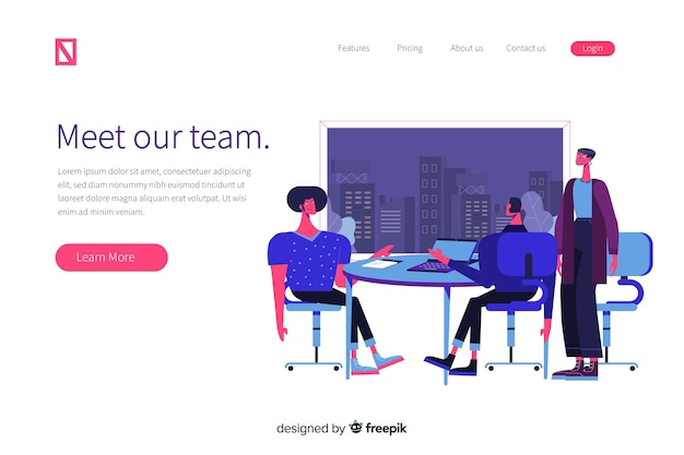 Meet our team concept for landing page