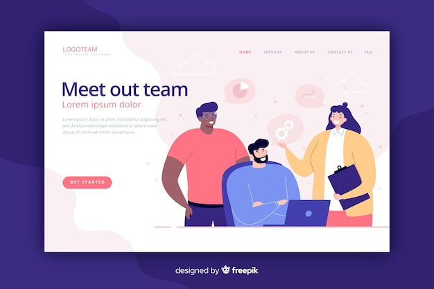 Meet our team landing page flat style