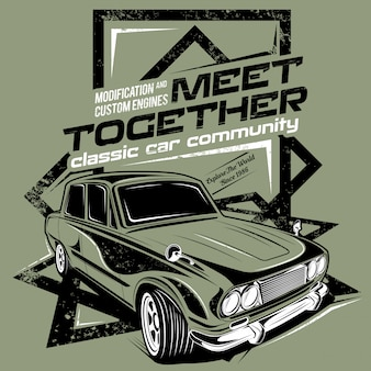 Meet together, illustration of the classic car community