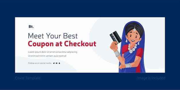 Meet your best coupon at checkout facebook cover design