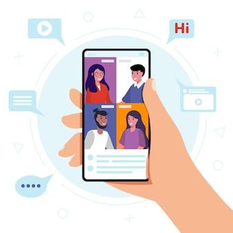 携帯電話でのビデオ会議を介して会社に会うデジタル技術コミュニケーションの概念