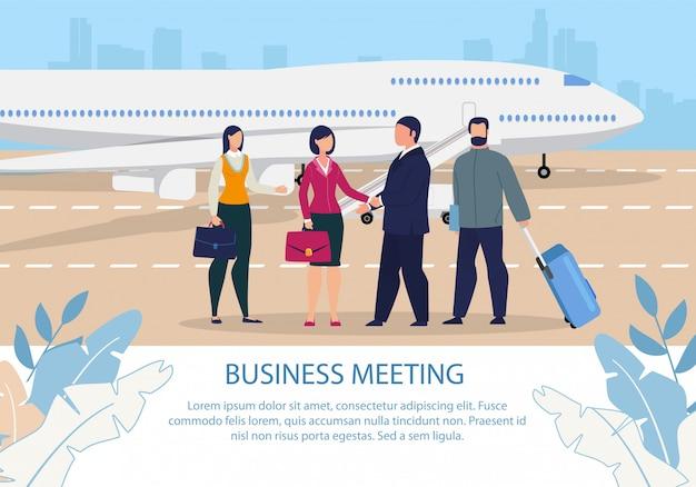 Meeting after business trip cartoon text poster