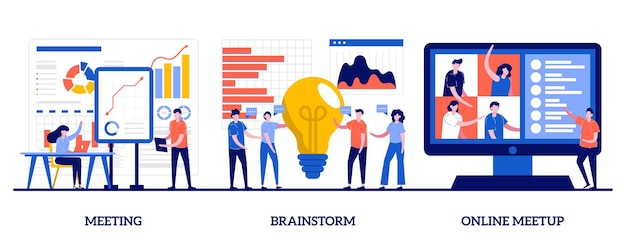 Meeting, brainstorm and online meetup concept with tiny people
