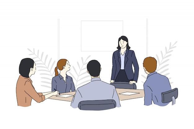 ビジネスマン、チームワークのイラスト、オフィスワーカーのブレーンストーミングの会議、会社の戦略について話し合う