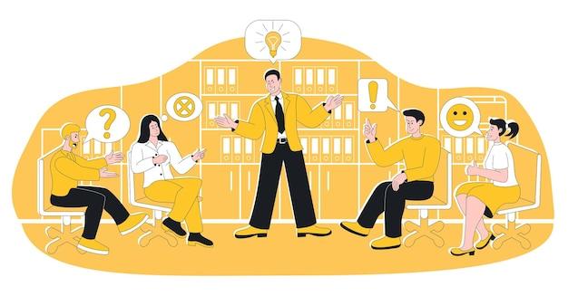 Встреча команды деловых людей, обсуждение и мозговой штурм. работа в команде, партнерство, сотрудничество и сотрудничество для генерации идей, векторная иллюстрация планирования корпоративной маркетинговой стратегии