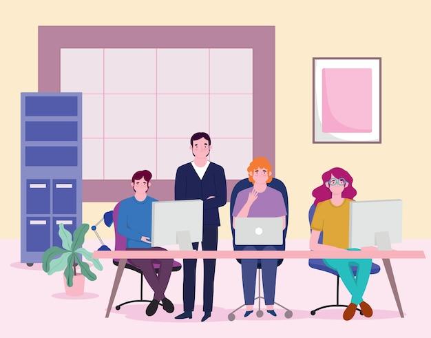 ビジネスマンとの出会い、ラップトップコンピューターのイラストとのチームワーク