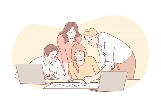 Встреча, коворкинг, работа в команде, анализ, бизнес-концепция.
