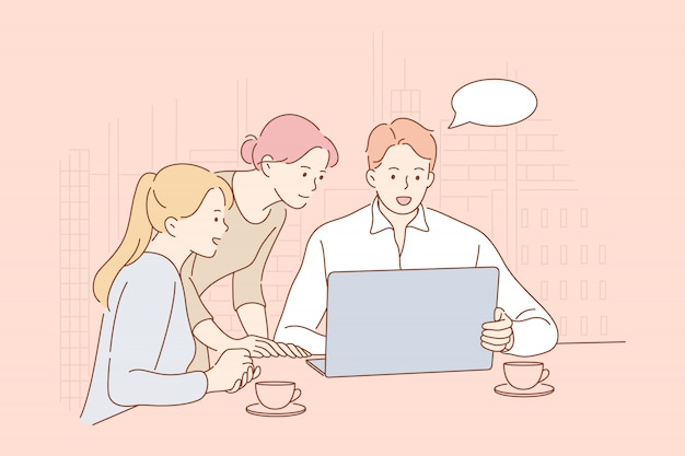 Meeting, coworking, teamwork, analysis, leadership business concept.