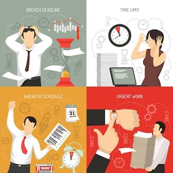 Rispetto delle scadenze 4 icone piane concetto con lavoro in anticipo sulla pianificazione e limiti di tempo violazione isolata