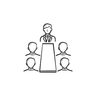 会議ディスカッションセミナー手描きアウトライン落書きベクトルアイコン。会議の人々は、白い背景で隔離の印刷物、ウェブ、モバイル、インフォグラフィックのイラストをスケッチします。