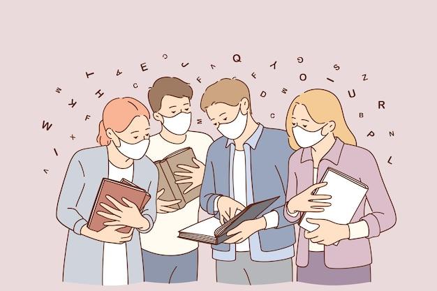 Meeting during coronavirus epidemic concept