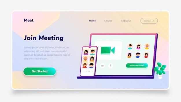 Целевая страница присоединяйтесь к конференции meeting gradient для смартфонов и ноутбуков, подходит для веб-баннеров, инфографики, книг, социальных сетей и других графических ресурсов