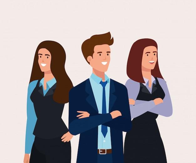 비즈니스 사람들이 아바타 캐릭터의 회의