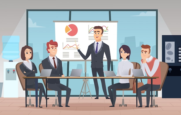 Meeting office interior. business conference room with people managers working team cartoon interior