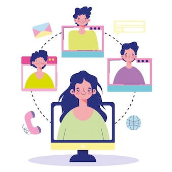 Meeting online, people computer web connected world communication cartoon