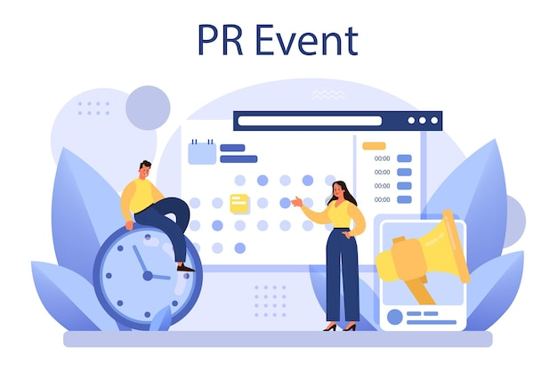 Организация встреч как pr-кампания по продвижению бизнеса. плоские векторные иллюстрации