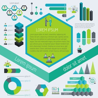 Meeting partnership corporate business infographic elements vector illustration