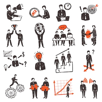 Meeting people icon set