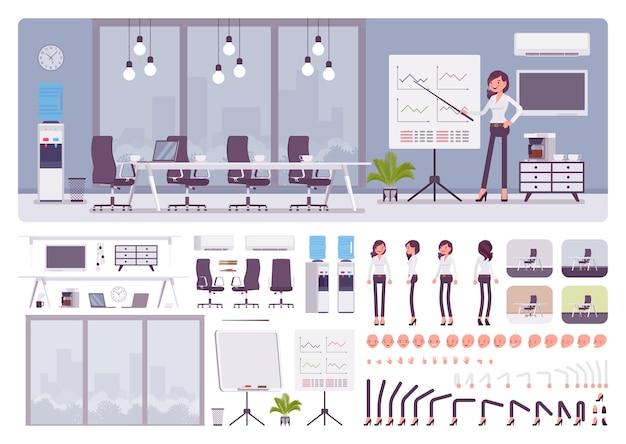 Переговорная комната в офисе бизнес-центра и комплект для создания женского менеджера