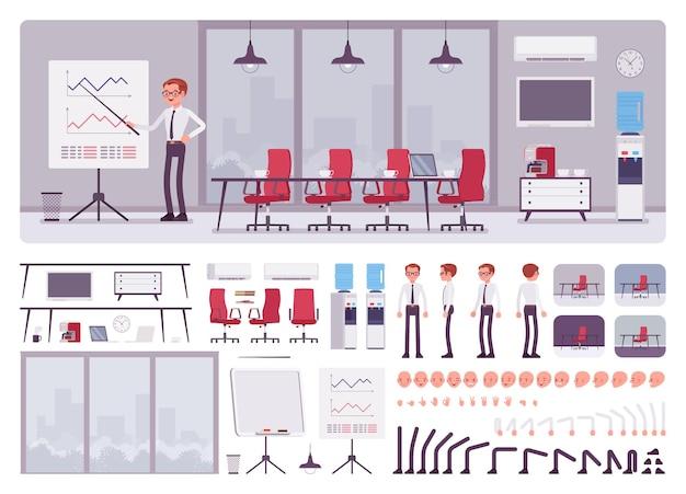 ビジネスセンターオフィスの会議室と男性マネージャー作成キット