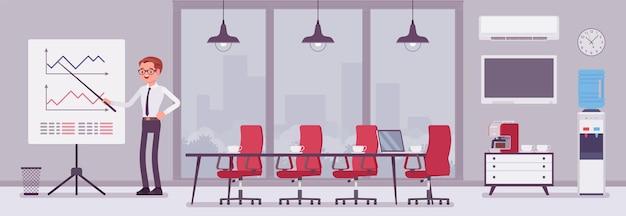 ビジネスセンターオフィスの会議室と男性マネージャー