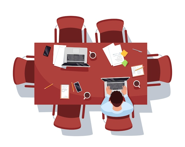 Meeting room with single worker semi flat rgb color vector illustration. man prepare report for conference. corporate employee isolated cartoon character top view on white background