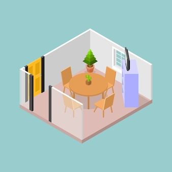 A meeting room with table and chairs