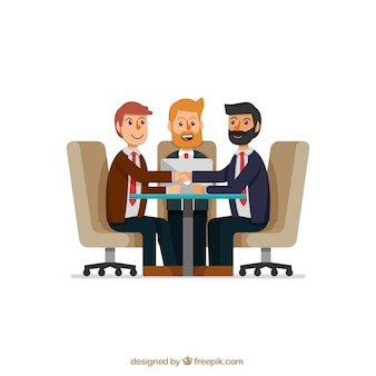 친절한 사업 사람들과 회의 장면