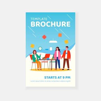 Meeting for tea or coffee break brochure template