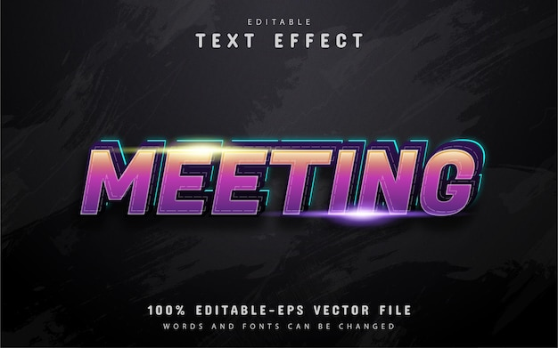 Meeting text, 3d purple gradient style text effect