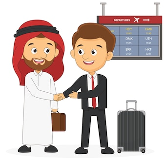 Встреча двух деловых людей в аэропорту