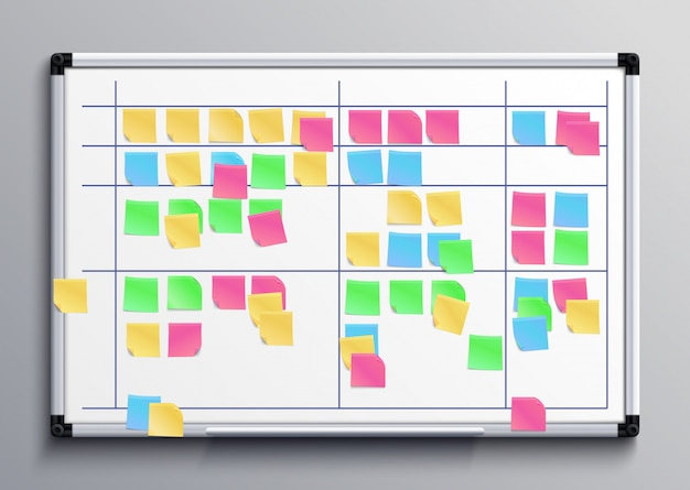 Meeting white board with color stickers. scrum task board with sticky notes of daily plan vector illustration