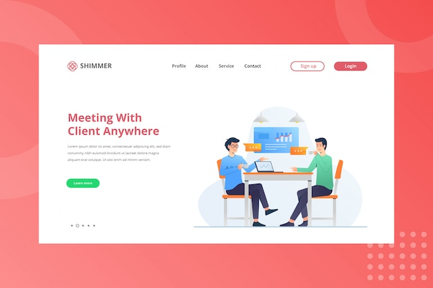 Meeting with client anywhere illustration for working from home concept on landing page