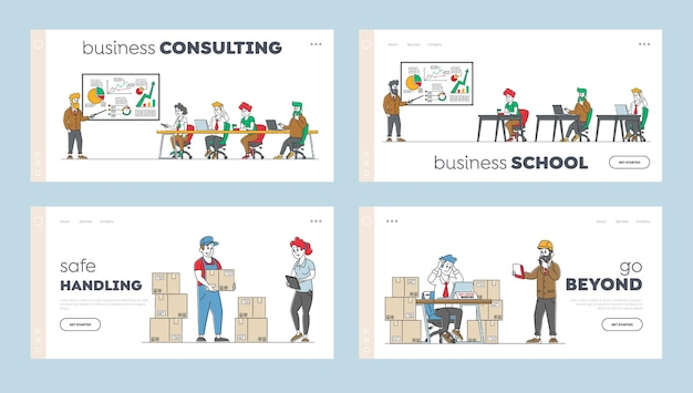 Meeting with employees and business consulting landing page template set