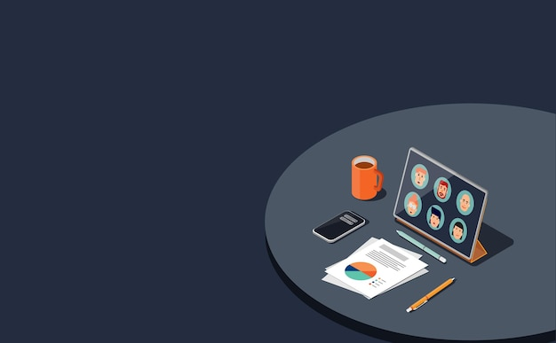 Meeting and working online with tablet in isometric view