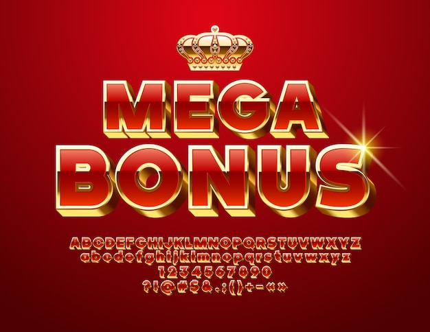Mega bonus. chic 3d font. luxury red and golden alphabet letters, numbers and symbols
