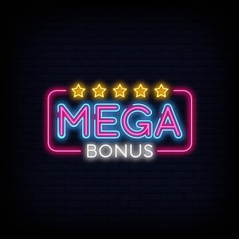 Мега бонус неоновый знак вектор. бонус неоновый текст дизайн шаблона неоновая вывеска