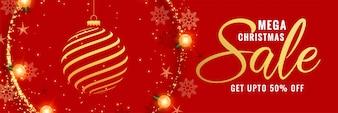 メガクリスマスレッド装飾バナーデザイン