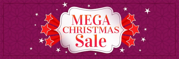 Mega christmas sale banner with stars