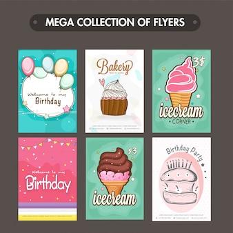 베이커리 및 생일 전단지 및 템플릿 디자인의 메가 컬렉션
