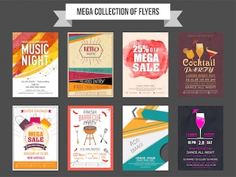 Mega collection of eight different flyers design based on Sale and Discount, Music Party and Business concept