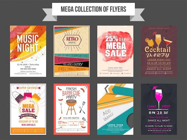 판매 및 할인, 음악 파티 및 비즈니스 개념에 따라 8 가지 전단지 디자인의 메가 컬렉션