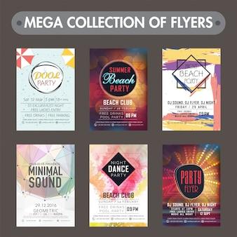 음악 파티 전단지, 템플릿 또는 초대 카드 디자인의 메가 컬렉션